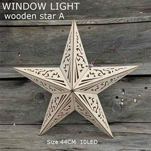 Weihnachtsbeleuchtung Wooden five-pointed star LED window light LED Lichtervorhang Lichter LED Lichterkette Eiszapfen Lichter Weihnachtsdeko Weihnachtsbeleuchtung Deko Deko Party Festen