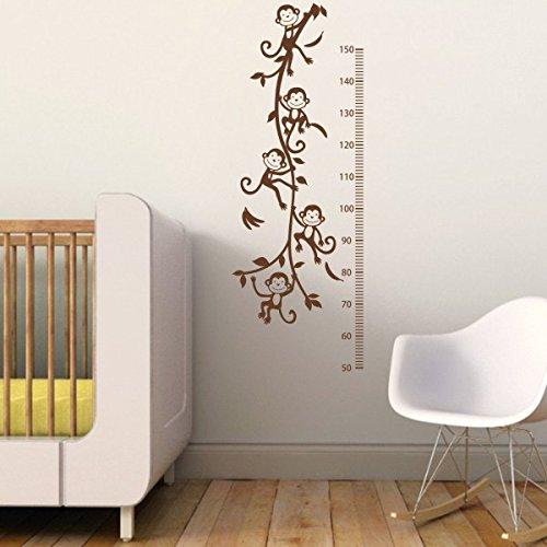 Vine Grafiken (Kinderzimmer Decor–Monkey Wachstum Diagramm Vinyl Klettern Vine Stciker Baby Schlafzimmer Wand Grafiken, Vinyl, braun, 46