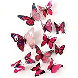 Xtore 12pcs 3D Home Decor Butterfly   3D Plastic Build   Beautiful Decor Item   Comes with Sticking pad   (Set of 12) (Magent
