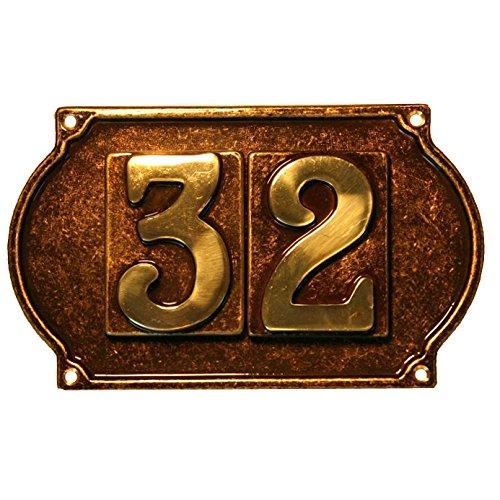 Btv - Placa para 2 numeros laton envejecido