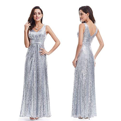 Ever Pretty Lang Pailletten Elegant Partykleid Cocktailkleid Abendkleid 36 Silber - 2