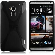 Cadorabo - HTC ONE MAX Cubierta protectora de silicona TPU en diseño X-Line - Case Cover Funda Carcasa Protección en ÓXIDO-NEGRO