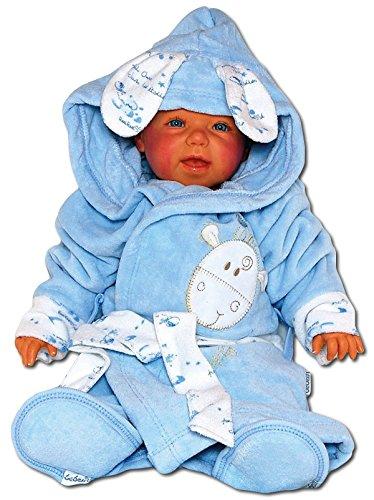 Baby Erstausstattung Set: Bademantel Kapuze Badetuch Schuhe Gürtel mit süßer Tier Applikation Giraffe aus 100% Baumwolle I Badeponcho Mädchen Jungen Kleinkind Säugling Babykleidung