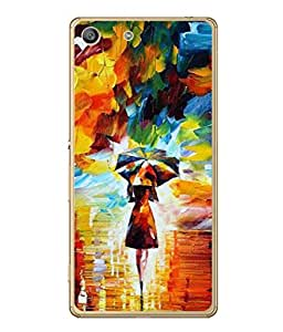 PrintVisa Designer Back Case Cover for Sony Xperia M5 Dual :: Sony Xperia M5 E5633 E5643 E5663 (Drawing Umbrella Wallpaper Background Cubes)
