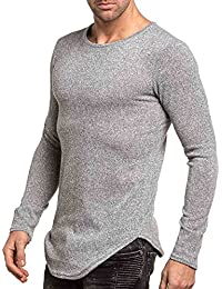 Celebry tees - Pullover fin homme gris chiné oversize arrondie