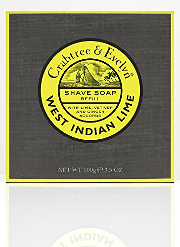 Crabtree & Evelyn West Indian Lime Shave Soap Refill, 1er Pack (1 x 100 g)
