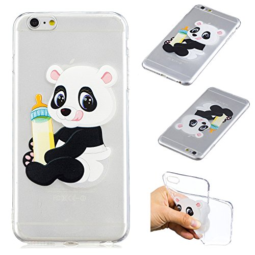 "CaseLover iPhone 6S Plus Hülle, Transparent Tasche Schutzhülle Mode Handy Case iPhone 6 Plus/6S Plus 5,5"" Silikon Case, Weiche TPU Handyhülle Shockproof Handy Cover, Panda und Babyflasche"