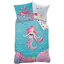 "'Mate & Rose Chica Niños Ropa de cama ""Ocean Girl & sirena Mermaid mágica bajo agua Mundo turquesa, rosa, rosa–Almohada 80x 80+ Funda Nórdica 135x 200cm–100% algodón"
