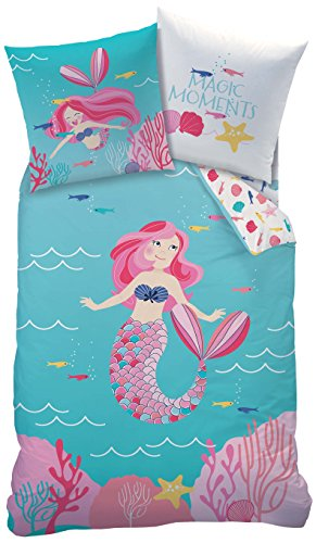 MERMAID MEERJUNGFRAU Mädchen Bettwäsche Set · OCEAN GIRL · magische Momente in der Unterwasserwelt türkis, rosa, pink - Kissenbezug 80x80 + Bettbezug 135x200 cm - 100% Baumwolle (Komfort Bettwäsche Kissenbezüge)
