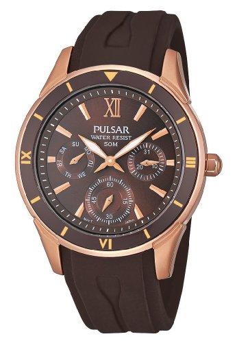 Pulsar Uhren Sport PP6052X1 - Reloj analógico de cuarzo para mujer, correa de silicona color marrón