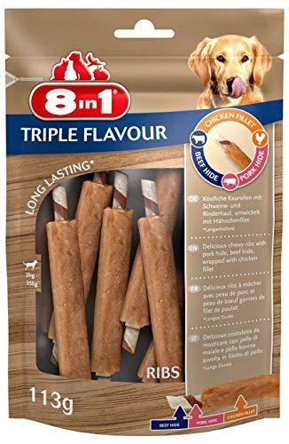 8in1 Triple Flavour Ribs Kausnack 6 Stück umwickelt mit Hähnchenfilet, 2er Pack (2 x 113 g)