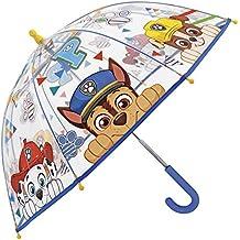 Paraguas Paw Patrol La Patulla Canina - Paraguas para niño transparente de cúpula, resistente, antiviento y largo - Seguro, con tacos redondeados y fijos - Apertura manual - Perletti