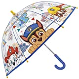 Regenschirm Paw Patrol - Kinderschirm mit transparenter Kuppel, robust, windfest - Sicher Kinderregenschirm mit abgerundeten, blockierten Spitzen - manuelle Öffnung - Perletti