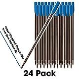 Jaymo - 24 - Recharges de stylo à bille compatibles Bleu Cross®. Écriture allemande lisse et pointe moyenne de 1 mm. # 8511