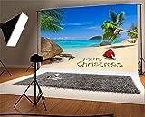 YongFoto 2,2x1,5m Foto Hintergrund Weihnachten Vinyl Blick aufs Meer Sandstrand Kokosnussbaum Weihnachtsmütze Fotografie Hintergrund Foto Leinwand Kinder Fotostudio