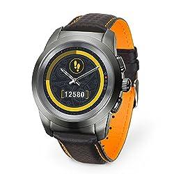 MyKronoz ZeTime Premium hybride Smartwatch 44mm mit mechanischen Zeigern über einen runden Farbtouchscreen - Regular Matt Titanium / Schwarz Carbon Orange Ziernaht