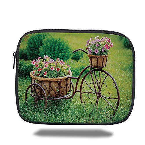 Tablet Bag for Ipad air 2/3/4/mini 9.7 inch,Flower Decor,Vintage Antique Rusty Bike with a Basket Flowers in a Spring Time Garden Photo,Multicolor,Bag -