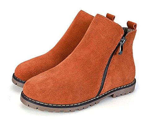 NSXZ Autunno e in inverno gli stivali di cotone stivali singoli stivali di pelle scarpe cerniera donne Martin stivali delle donne grandi stivali da donna taglia , 35 CAMELPLUSCOTTON-42