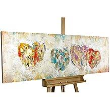 KunstLoft® cuadro acrílico 'Corazones amor romántico' 150x50cm | Original pintura XXL pintado a mano en lienzo | Corazones amor romántico | Mural acrílico de arte moderno en una pieza con marco