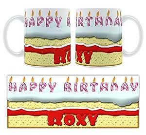 Happy Birthday Roxy-Le Gâteau d'anniversaire personnalisé Mug en céramique