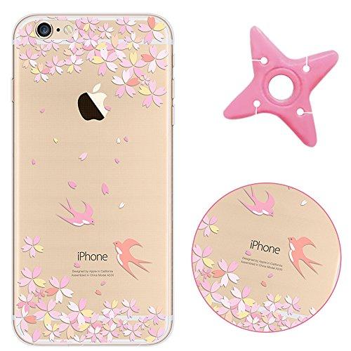 iPhone 6sPlus Cover, MAOOY Moda Flower Animal Frutta Flamingo Modello Design Case per iPhone 6Plus, Flessibile Ultra Sottile Leggero Bumper Copertura di Soft Gomma Sveglio Cristallo Gel Antiurto Prote Spring Floral