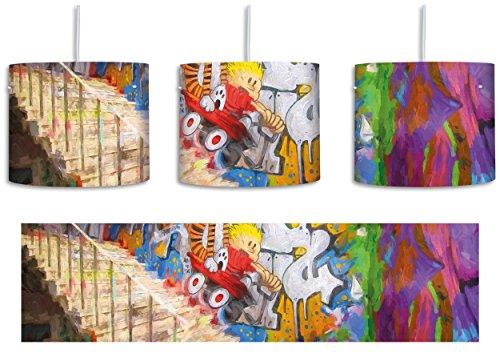 Coloured Streetart Graffiti Pinsel Effekt inkl. Lampenfassung E27, Lampe mit Motivdruck, Deckenlampe, Hängelampe, Pendelleuchte - Durchmesser 30cm - Dekoration mit Licht - Effekte-pinsel