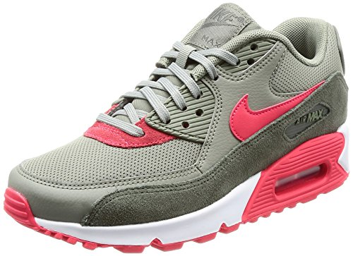 Nike Damen Wmns Air Max 90 Gymnastikschuhe, Grau (River Rock/Siren Red/Dk Stucco/White), 39 EU (Air Wmns)