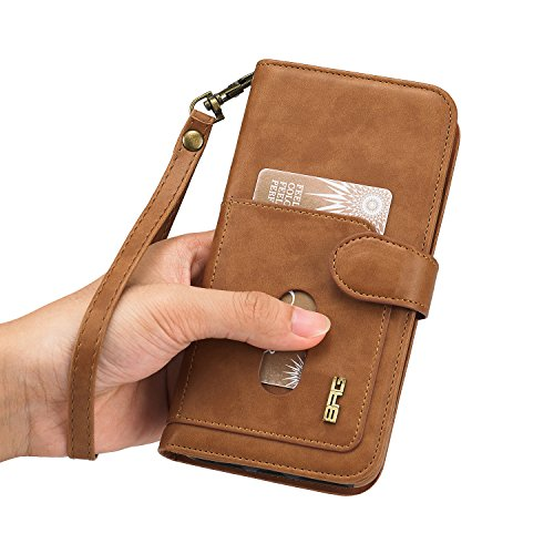 iPhone 7 Hülle,iPhone 8 Hülle,SUNWAY PU Leather Card Slot Folio Flip Dustproof Scrach Proof Full Protection Wallet Case with Kickstand for iPhone 7/8 4.7 Inch - Black Brown