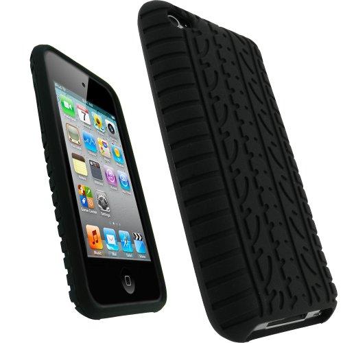 iGadgitz Schutzhülle für Apple iPod Touch 4 / 4G (Silikon, Reifenprofil-Design, inkl. Displayschutzfolie), Schwarz