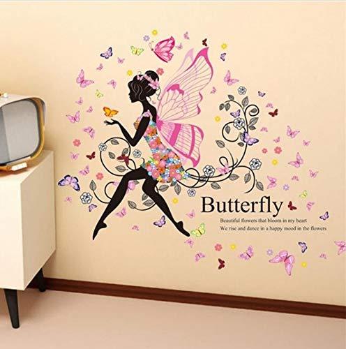 (Meaosy Charming Romantische Fee Mädchen Wandaufkleber Für Kinderzimmer Blume Schmetterling Engel Flügel Wandtattoo Schlafzimmer Sofa Dekoration Wandkunst)