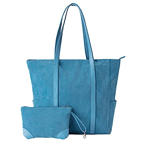 Laptop Bag, GRM 15 inches Canvas Women's Casual Handbag Computer Tote Bag Large Shoulder Hand Bag with Bonus Purse for Travel Business Office Work School Casual Shopping, Navy
