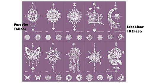 Paradise Tattoos Lot de 10 pochoirs de tatouage en filigrane réutilisables - Motifs : attrape-rêve, mandala et papillons - Violet