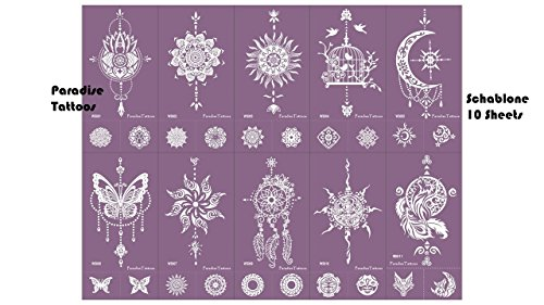 Atrapasueños Mandala mariposa Tattoo Plantilla Plantilla de malla Tattoo reutilizable 10Sheets Set Purple