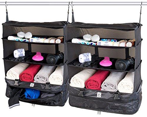 Xcase Reise Regaltasche: 2er-Set XXL-Koffer-Organizer, Packwürfel zum Aufhängen, 45 x 64 x 30cm (Koffer Organizer zum Hängen)