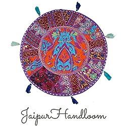jaipurhandloom indio bordado Patchwork Cojín de suelo (redondo, para almohadas, salón indio Puf Puf Puf redondo decorativo, étnico indio 43cm o 17inch