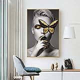 zgmtj Moderna Tela Pittura Moda Ragazza Farfalla Arte della Parete Picture for Living Room Nordic Fashion Art Nero Bianco Stampa Decorazione