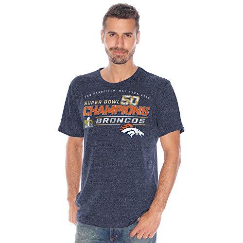 G-III Sports Denver Broncos Herren Super Bowl 50Champions Tri Blend T-Shirt, Herren Damen Unisex-Erwachsene, Navy, Medium