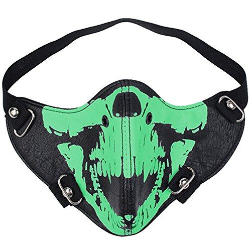 maske Totenkopf Pattern Maske für Motorradfahren, Radsport, Halloween, Karneval - Noctilucence Grün ()
