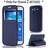 Arbalest� Galaxy Grand 2 Case, View Window Flip Cover PU Cuir Coque Etui pour Samsung Galaxy Grand 2 II G7102 G7105 G7106 Smartphone Bleu Fonc�