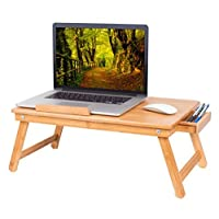BirdRock Home Bamboo Laptop Bed Tray (Natural)| Multi-Position Adjustable Surface | Pull Down Legs | Lap Desk with Storage Drawer (Natural)