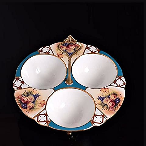 Upper-Ceramic disc hanging round disc three snack trays fruit platter with copper inlaid copper ceramic fruit plate