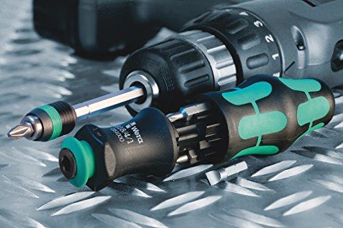 Wera 05073240001 Kraftform Kompakt 28 SB, Handhalter mit Bit-Magazin, 7-teilig, 7 Stück