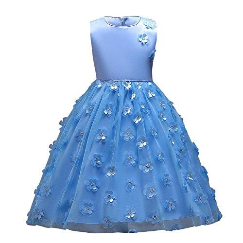TWBB Mädchen ärmellos Reißverschluss O-Ausschnitt Blumen Spitze Pompon Knöchellanges Kleid (110, Blau)