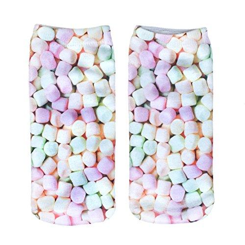 Modische Socken, 3D-Animal Print, Damen/ Herren, Baumwolle, Knöchelhöhe Gr. S, (Outfit Marshmallow Man)