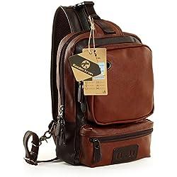 Koolertron- Bolsa de Mensajero de los Hombres de Moda Bolso Retro de Hombro de Cuero Sintético Mochilas Bolso Casual de Pecho (marrón oscuro)