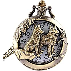 Cool Style Hollow Wolf Moon Bronze Antique Style Quartz Pocket Watch Necklace