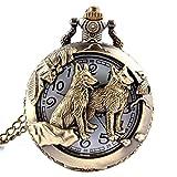 Reloj de bolsillo de cuarzo, diseño de lobo y luna, bronce, estilo antiguo