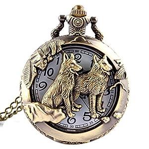 joyliveCY Taschenuhr mit Wolf-Motiv, mit Quarz-Uhrwerk und Halskette, cooler Stil, antiker Stil, hohl, Bronze