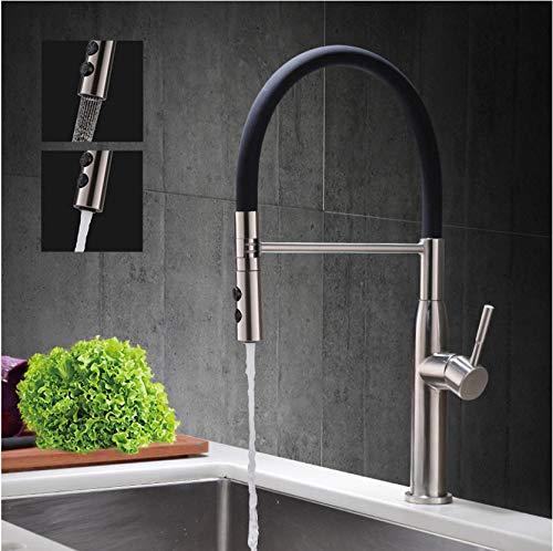 Gebürstetem Nickel Frühling Spüle Wasserhahn Sprayer Stream Auslauf Pull Down Küchenmischer Deck montiert Warm- und Kaltwasserhahn - Pull-down-spüle