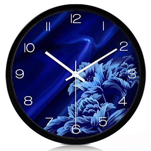 H&S BLUELOVER Große Wanduhr Silent Quarzuhr im Wohnzimmer Einfache und Moderne elektronische Uhr Kreative verknüpfte Relation Neue (Farbe: Schwarz, Größe: M) (Teppich 1702)